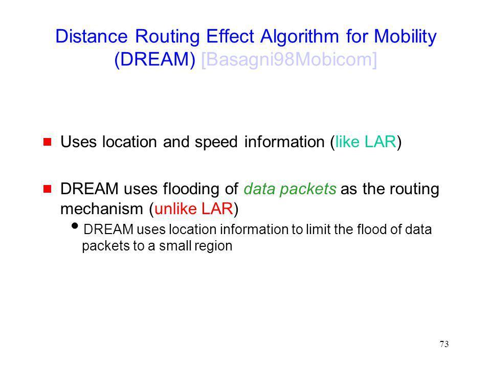 Distance Routing Effect Algorithm for Mobility (DREAM) [Basagni98Mobicom]